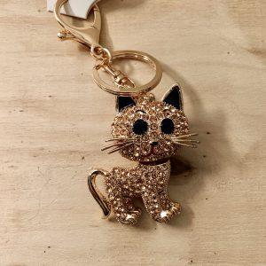 sleutelhanger, steentjes, kat